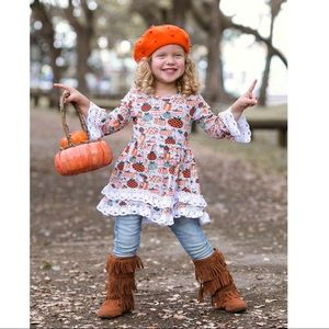 Precious Pumpkin Lace Layered Dress